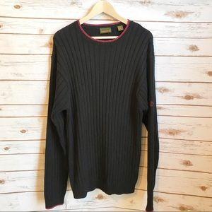 Timberland Men's Black Ribbed Cotton Sweater Sz XL
